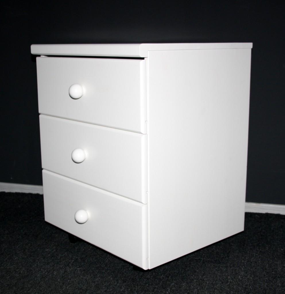 Rollcontainer Schubladenkommode Kiefer massiv weiß lackiert – Bild 4