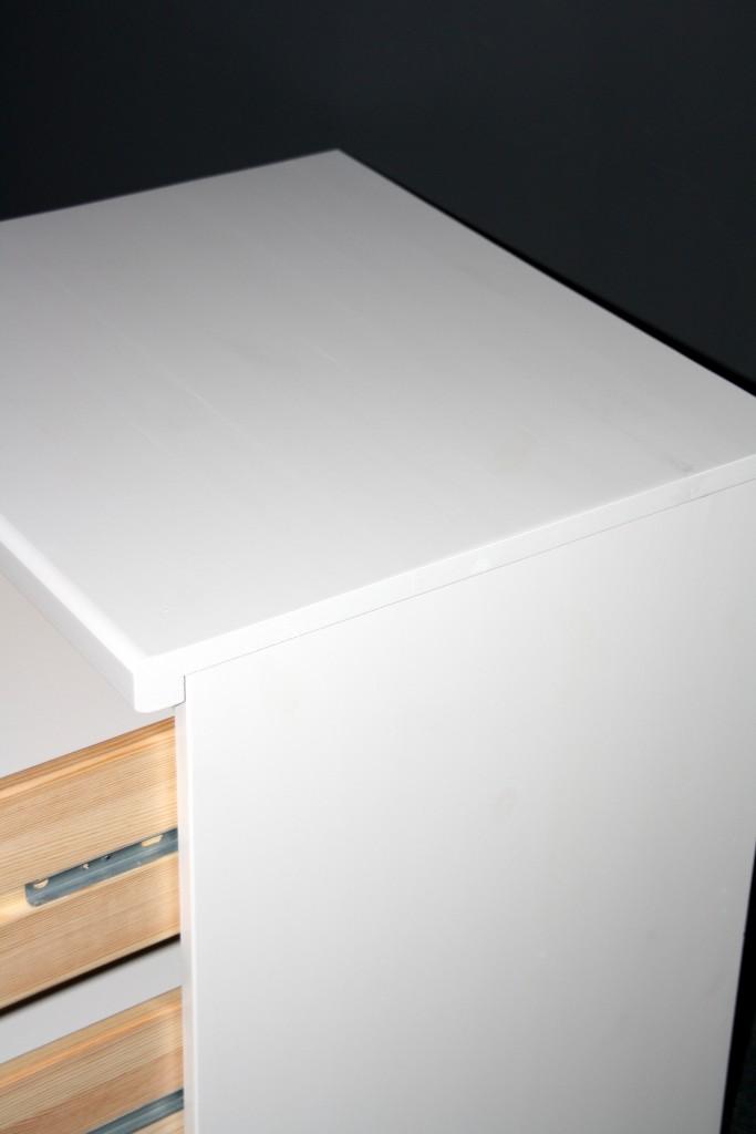 Rollcontainer Schubladenkommode Kiefer massiv weiß lackiert – Bild 7