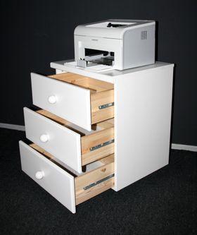 Rollcontainer Schubladenkommode Kiefer massiv weiß lackiert 001