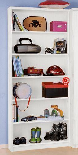 Bücherregal weiß lackiert Regal hoch Standregal Kiefer massiv  – Bild 2
