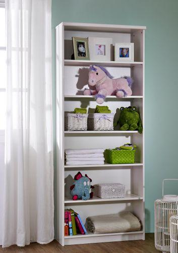 Bücherregal weiß lackiert Regal hoch Standregal Kiefer massiv  – Bild 1