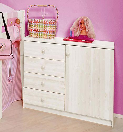 Kinderkommode Wäschekommode Kiefer massiv weiß lackiert – Bild 1