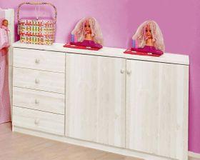 Kommode 147x81x43cm, 4 Schubladen, 2 Türen, Kiefer massiv weiß lackiert