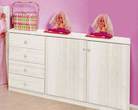 Wäschekommode Kommode Kiefer massiv Holz weiß lackiert 001