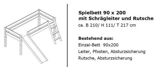 Hochbett Vollholz Spielbett mit Vorhang  Buche massiv natur lackiert – Bild 3