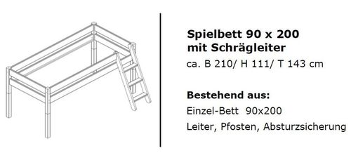 Hochbett Vollholz Spielbett mit Vorhang Girl Buche massiv weiß lackiert – Bild 2