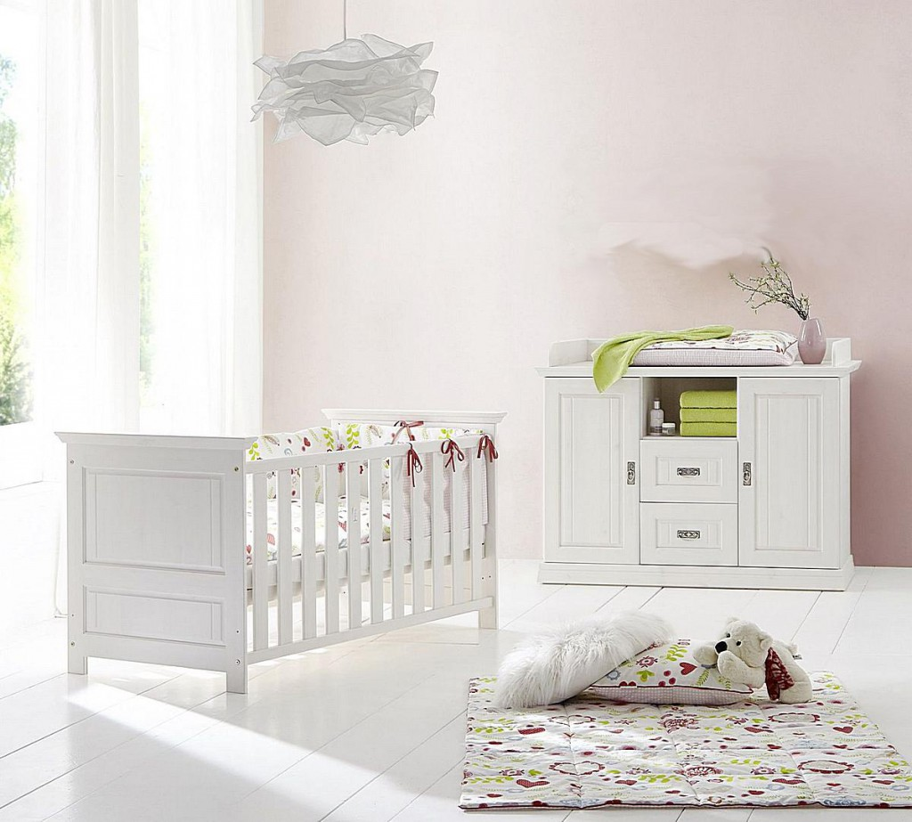babyzimmer 3teilig kiefer massiv wei gewachst. Black Bedroom Furniture Sets. Home Design Ideas