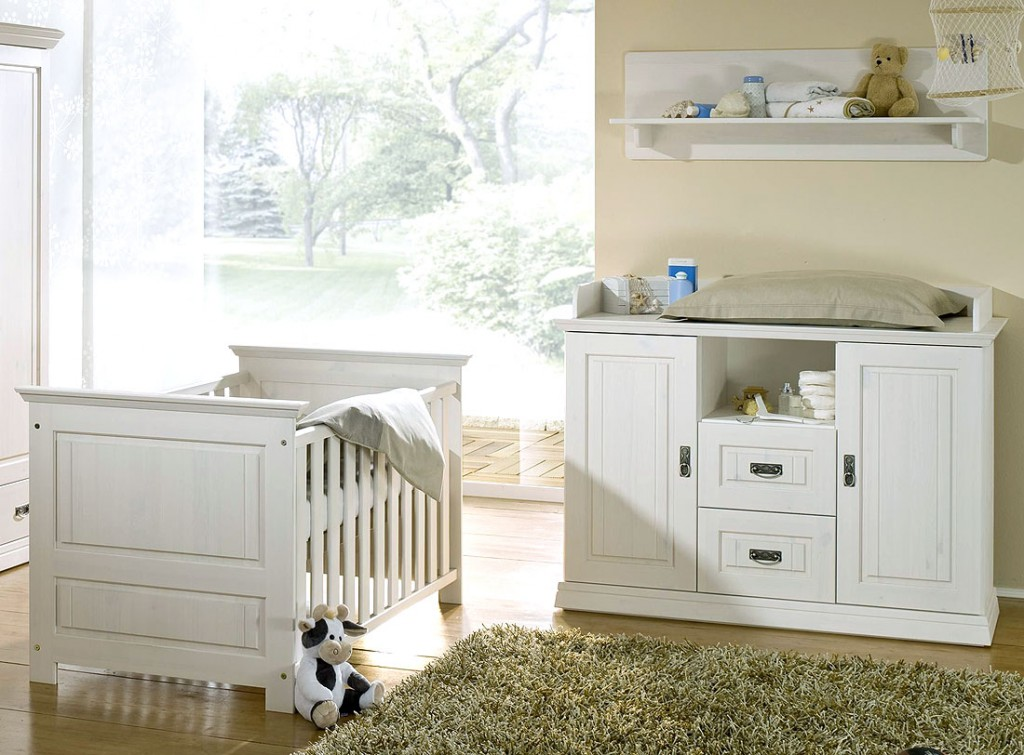Massivholz Baby Möbel Set 3teilig Weiß Kiefer Gitter Bett Kinder
