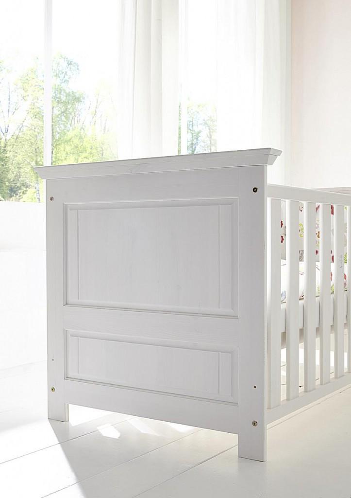 Babymöbel-Set weiß gewachst Babybett Wickelkommode Kiefer massiv Vollholz – Bild 3