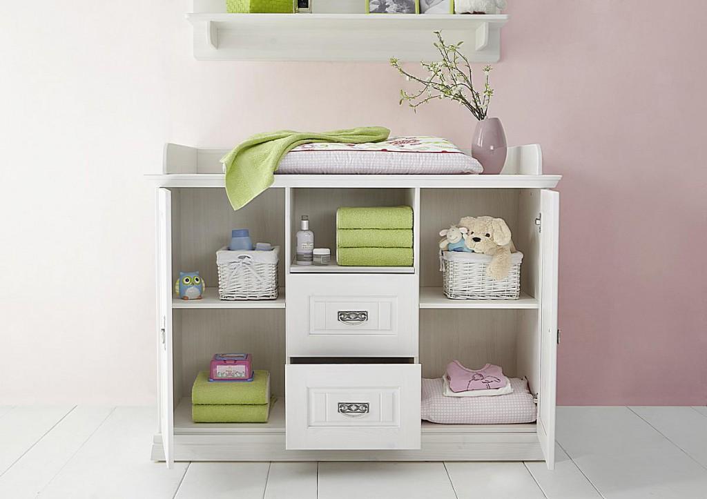 Babymöbel-Set weiß gewachst Babybett Wickelkommode Kiefer massiv Vollholz – Bild 6