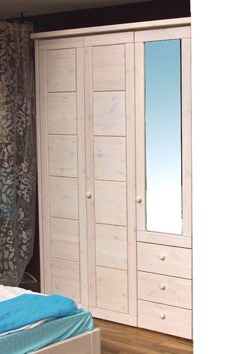 Kleiderschrank 3türig Schlafzimmerschrank Vollholz Kiefer massiv weiß – Bild 1