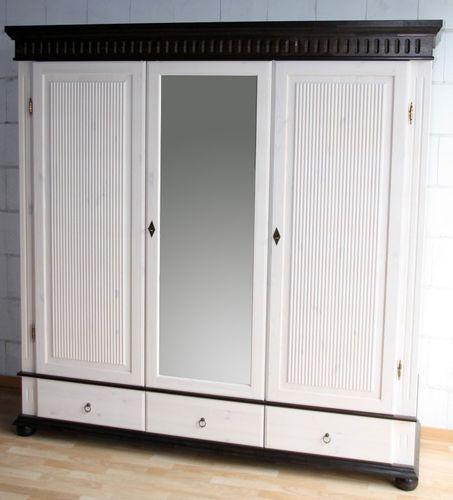 Kleiderschrank 3türig XL weiß kolonial mit Spiegel Kiefer massiv Poarta – Bild 1