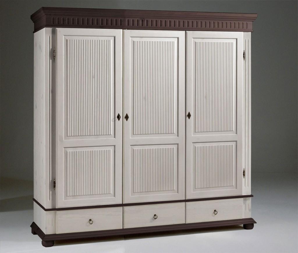 Kleiderschrank 3türig weiß kolonial Kiefer massiv Poarta – Bild 1