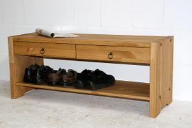 Sitzbank 115x48x40cm, 2 Schubladen, 1 Ablageboden, Kiefer massiv gelaugt geölt
