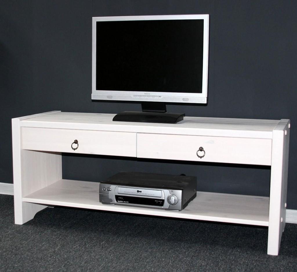 Sitzbank TV-Möbel Dielenbank Bank Kiefer massiv weiß lasiert – Bild 4