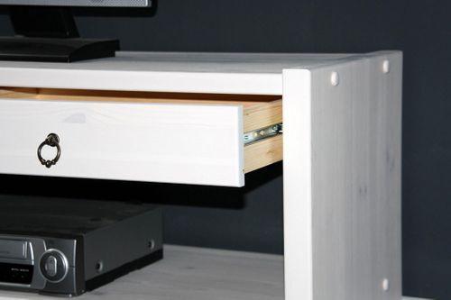 Sitzbank TV-Möbel Dielenbank Bank Kiefer massiv weiß lasiert – Bild 3