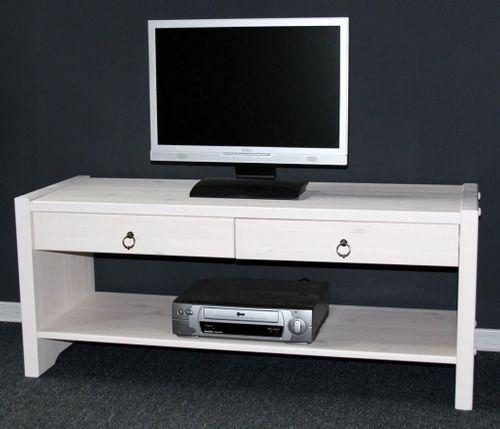 Sitzbank TV-Möbel Dielenbank Bank Kiefer massiv weiß lasiert