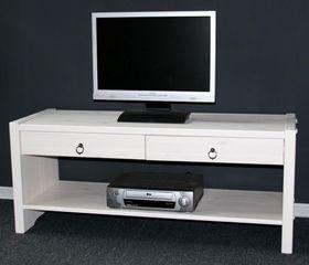 Sitzbank TV-Möbel Dielenbank Bank Kiefer massiv weiß lasiert 001