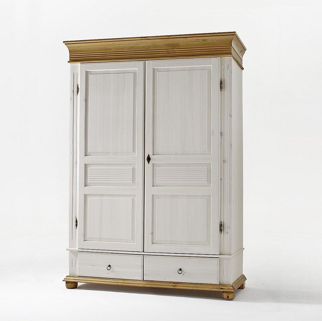 Kleiderschrank 2türig weiß antik Dielenschrank Kiefer massiv Vollholz – Bild 1