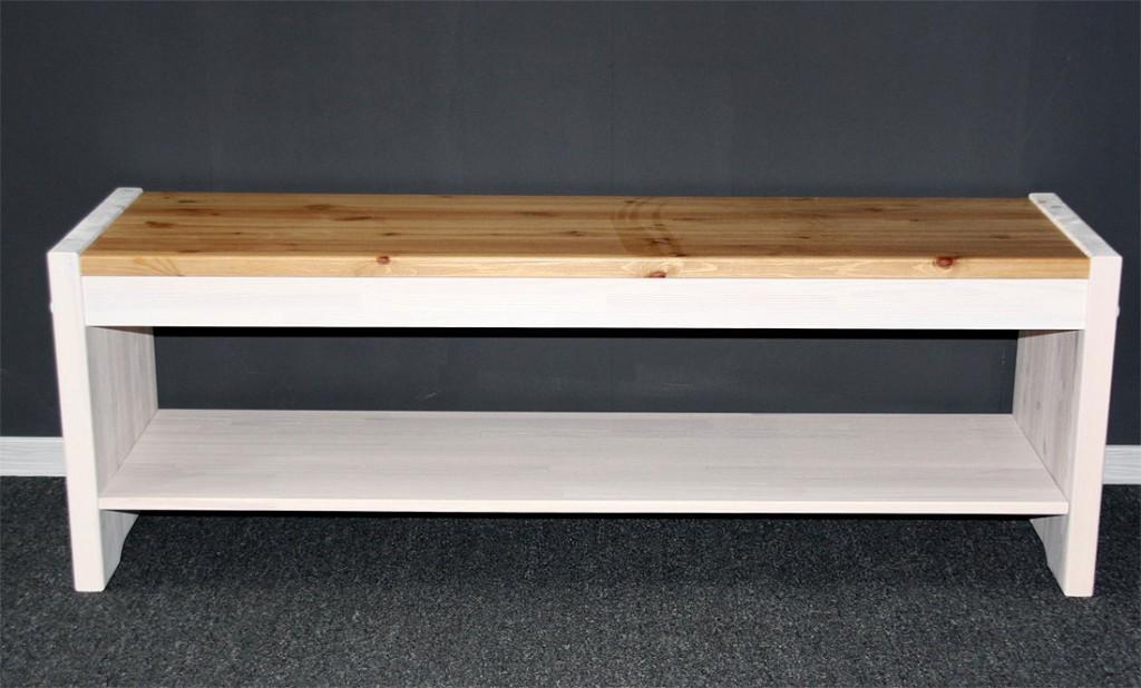 Sitzbank 140cm Kiefer massiv weiß Holzbank Vollholz Küchenbank 2farbig – Bild 3