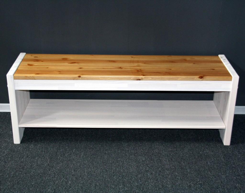 Sitzbank 140cm Kiefer massiv weiß Holzbank Vollholz Küchenbank 2farbig – Bild 4