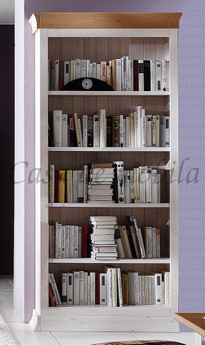 Bücherregal Kiefer massiv Tiefe 31cm Holz weiß lasiert Büroregal – Bild 1