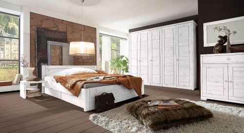 Kleiderschrank 3türig Schlafzimmerschrank Kassettenfront Vollholz Kiefer massiv weiß – Bild 4