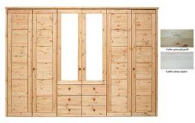 Schlafzimmerschrank 6türig Kleiderschrank Spiegel Kassettenfront Vollholz Kiefer massiv 001