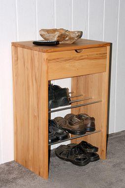 Schuhkommode 50x78x36cm, 1 Schublade, 2 Schuhablagen, Kernbuche massiv geölt