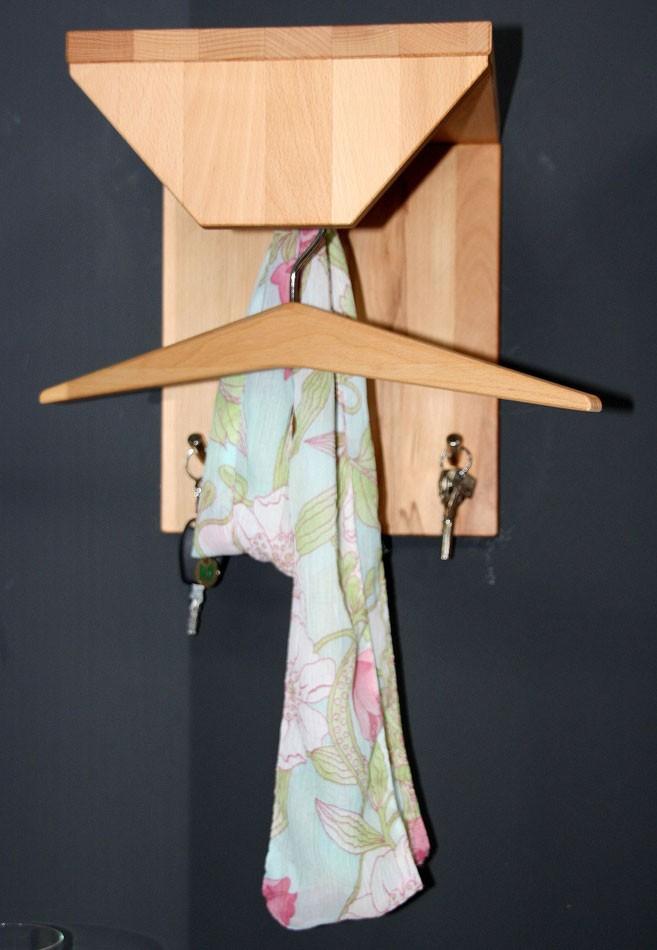 Garderobe klein Hutablage Kleiderstange Kernbuche geölt Vollholz – Bild 2