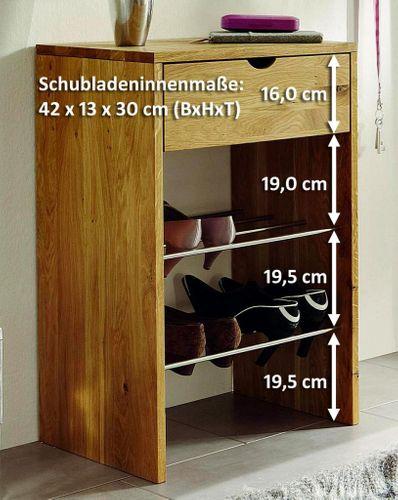 Vollholz Schuhkommode Schuhregal Kommode Wildeiche massiv geölt – Bild 2