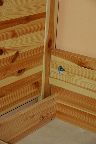 Bett 100x200 Komforthöhe Vollholz XL Schubladenbett Kiefer massiv gelaugt geölt – Bild 5