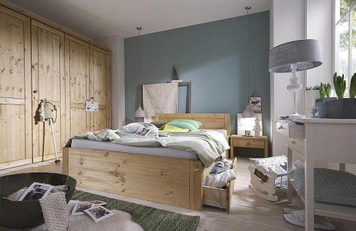 Bett 100x200 Komforthöhe Vollholz XL Schubladenbett Kiefer massiv gelaugt geölt – Bild 6