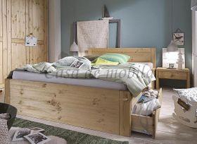 Bett 100x200, 2 Schubladen, Komforthöhe 45cm, Kiefer massiv gelaugt geölt