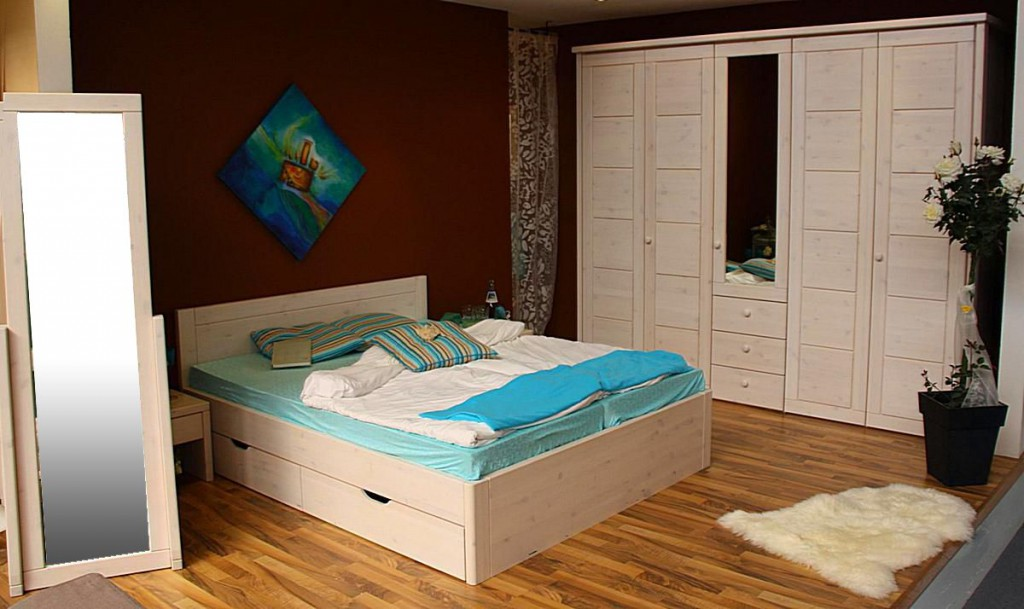 bett 100x200 2 schubladen komforth he 45cm kiefer. Black Bedroom Furniture Sets. Home Design Ideas