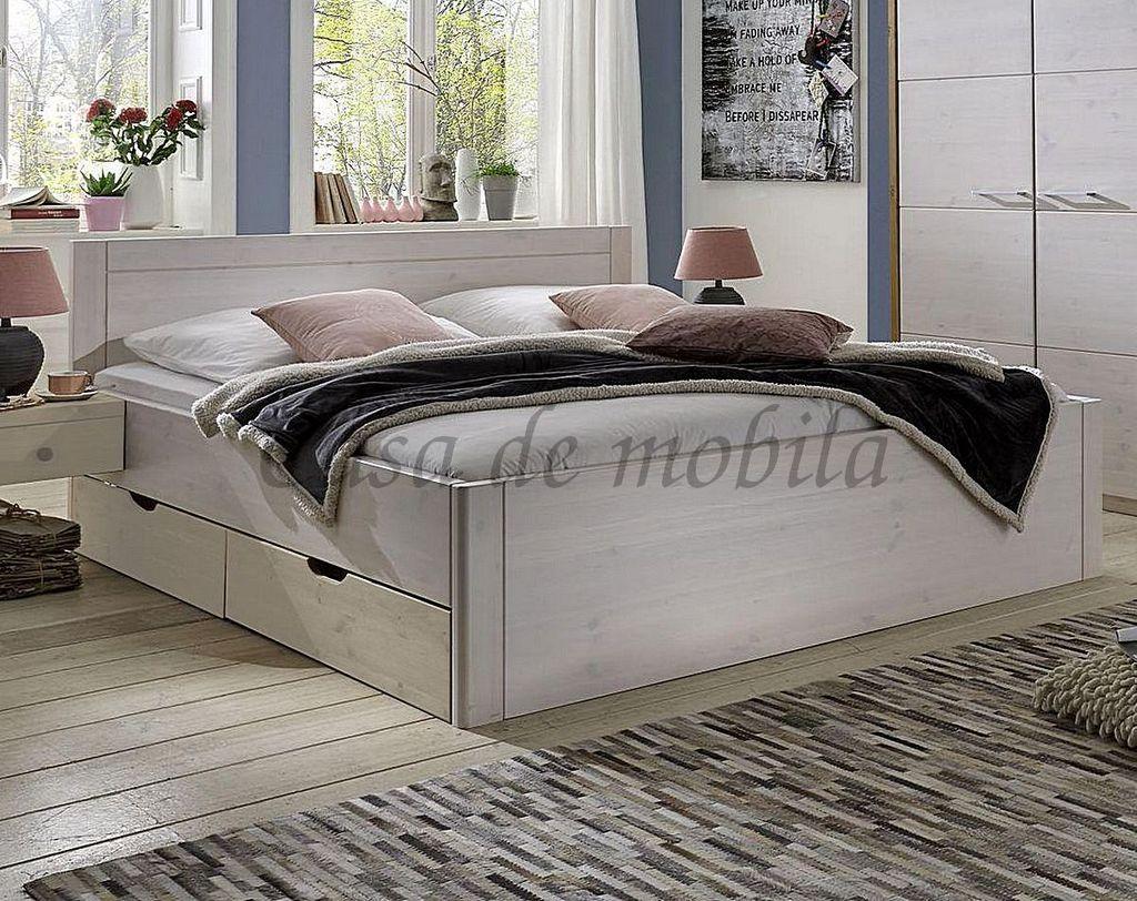 Massivholz Bett 100x200 2 Schubladen Komforthöhe XL Schubladenbett Kiefer  weiß