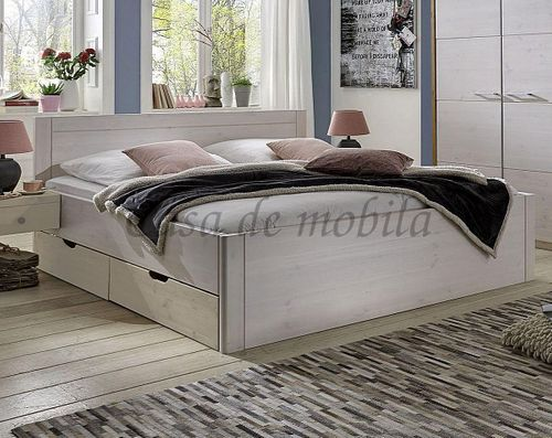 Bett 100x200 2 Schubladen Komforthöhe Vollholz XL Schubladenbett Kiefer massiv weiß – Bild 1