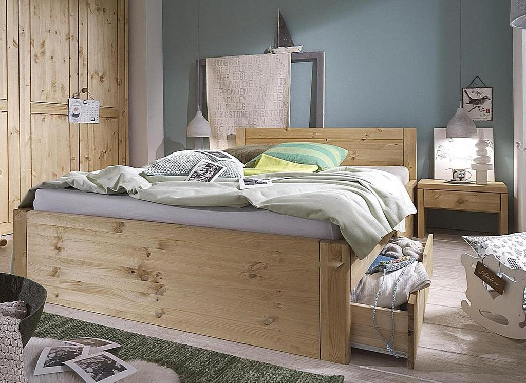 bett 140x200 4 schubladen komforth he 45cm kiefer massiv gelaugt ge lt. Black Bedroom Furniture Sets. Home Design Ideas