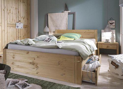 Bett 140x200 Komforthöhe Vollholz XL Schubladenbett Kiefer massiv gelaugt geölt
