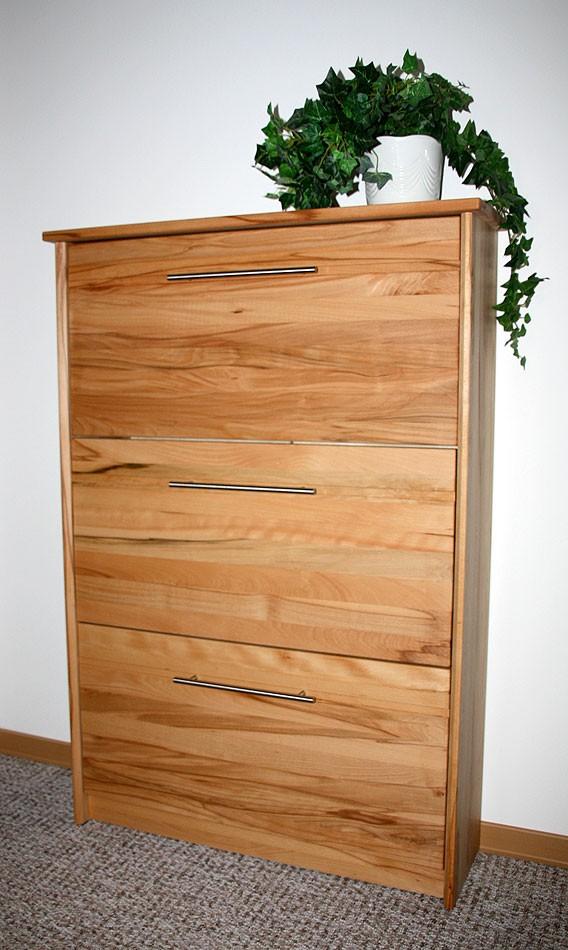 Schuhschrank Schuhkipper Kommode Kernbuche Wildeiche massiv Holz – Bild 1