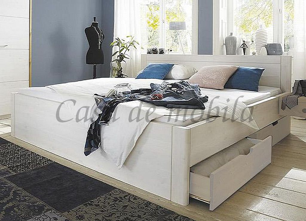 bett 140x200 4 schubladen komforth he 45cm kiefer massiv wei lasiert. Black Bedroom Furniture Sets. Home Design Ideas