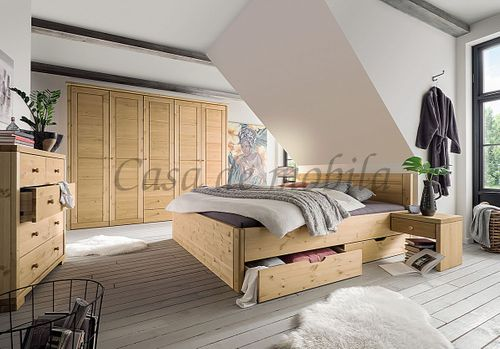 Bett 160x200 Komforthöhe Vollholz XL Schubladenbett Kiefer massiv gelaugt geölt – Bild 8