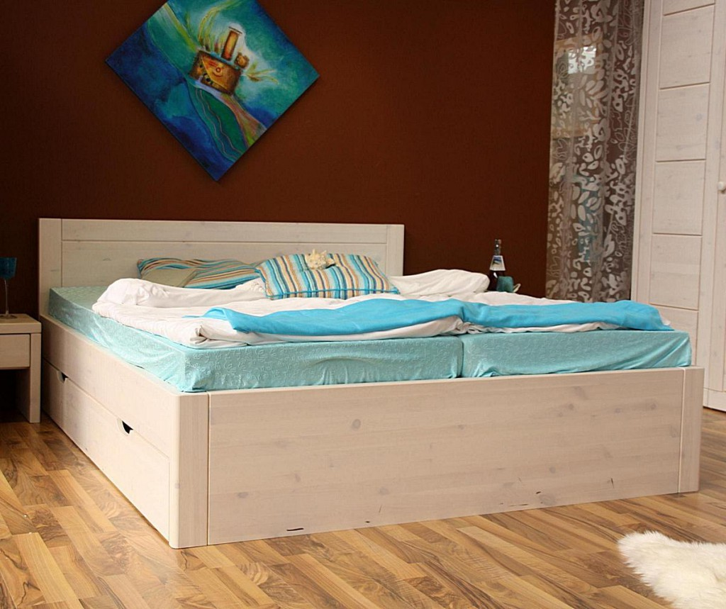 bett 160x200 4 schubladen komforth he 45cm kiefer massiv wei lasiert. Black Bedroom Furniture Sets. Home Design Ideas