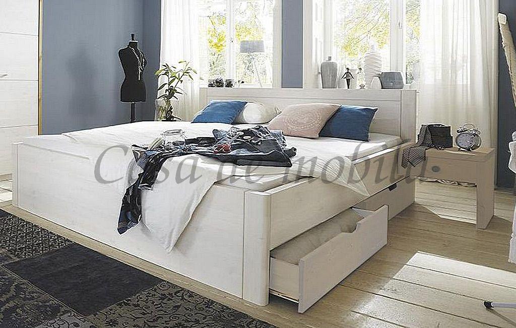 Bett 160x200 4 Schubladen Komforthöhe Vollholz XL Schubladenbett Kiefer massiv weiß – Bild 9