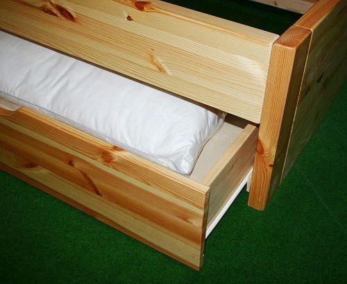 Bett 160x200 4 Schubladen Komforthöhe Vollholz XL Schubladenbett Kiefer massiv weiß – Bild 4
