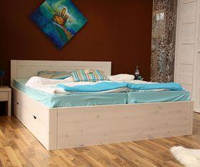 Bett 160x200 4 Schubladen Komforthöhe Vollholz XL Schubladenbett Kiefer massiv weiß 001