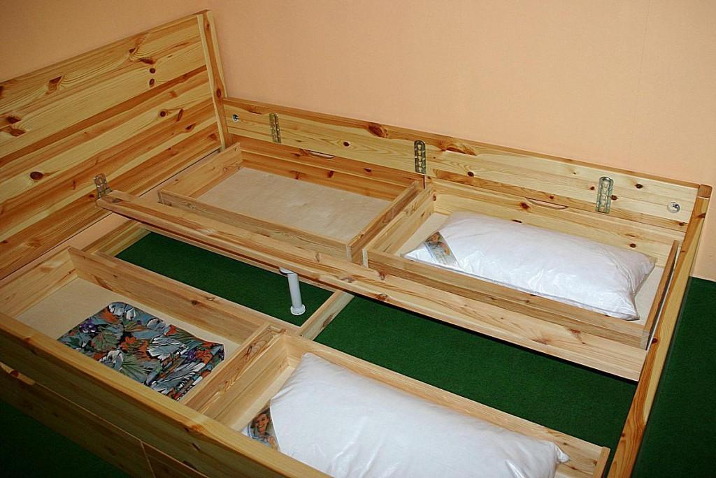 Bett 200x200 4 Schubladen Komforthöhe Vollholz XL Schubladenbett Kiefer massiv weiß – Bild 2