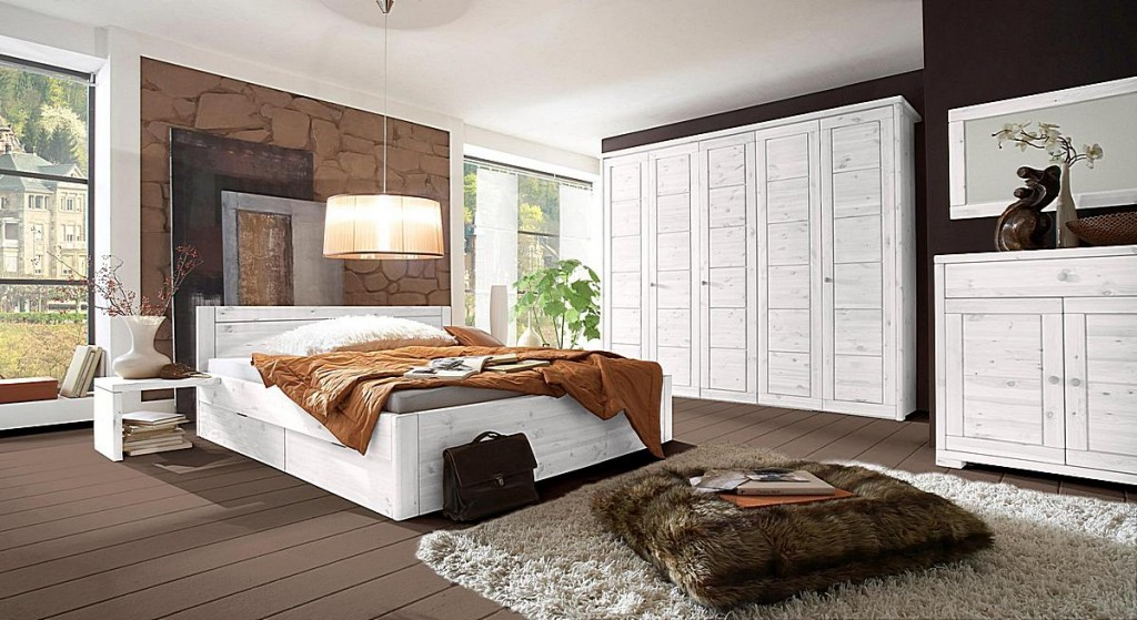 bett 200x200 4 schubladen komforth he 45cm kiefer massiv wei lasiert. Black Bedroom Furniture Sets. Home Design Ideas