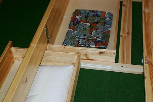 Bett 200x200 Komforthöhe Vollholz XL Schubladenbett Kiefer massiv gelaugt geölt – Bild 3