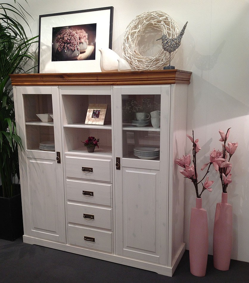highboard 140x147x43cm 2 t ren 4 schubladen kiefer massiv 2farbig wei gewachst honig lackiert. Black Bedroom Furniture Sets. Home Design Ideas